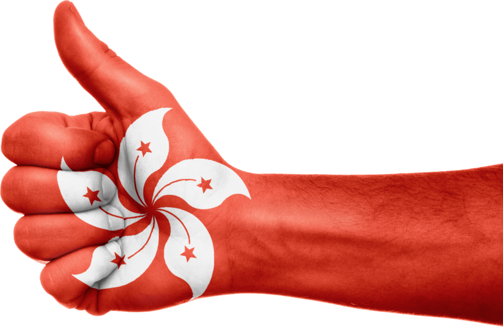 Hand with Hong Kong Flag painted
